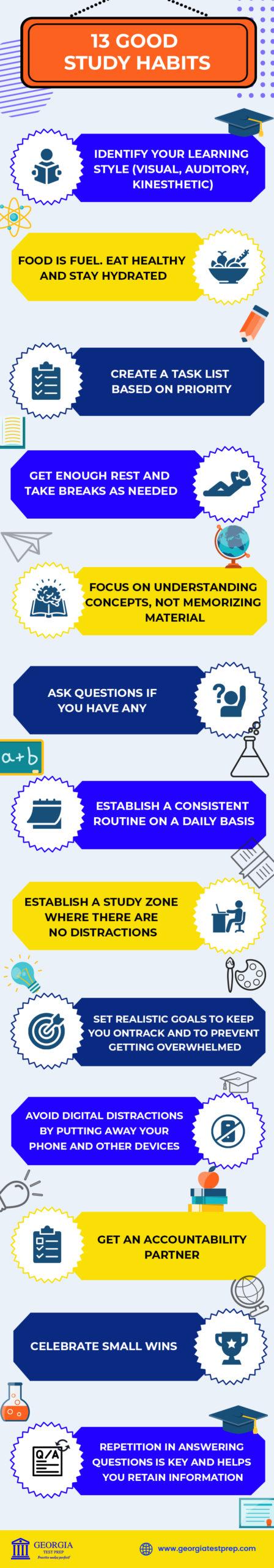 13 good study habits infographic